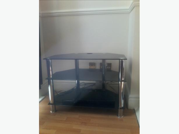 black glass t.v stand
