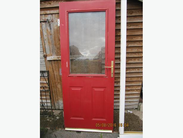 METAL SKINNED DOUBLE GLAZED FRONT DOOR + FRAME 915 MM WIDE 2090 MM HIGH