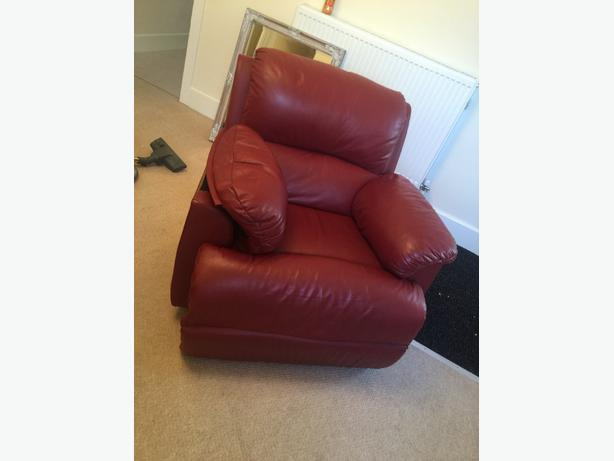 Red leather recliner sofa set