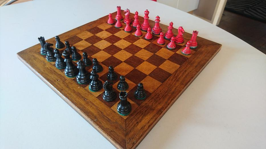 Vintage Complete Chess Set Inlaid Wooden Board Lead Pieces