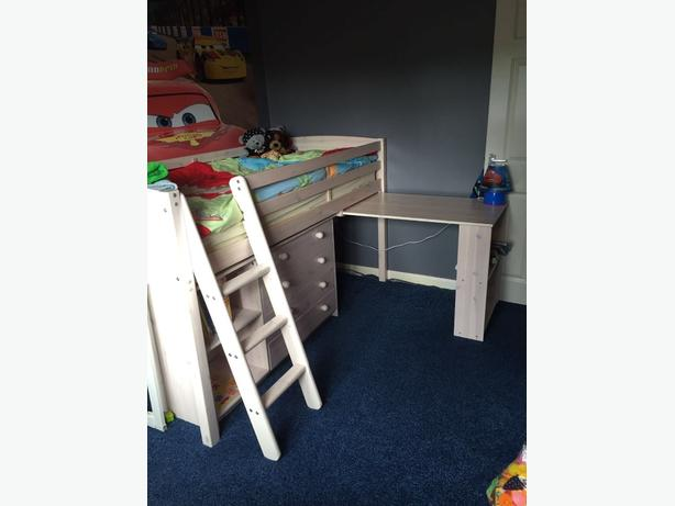 wooden mid sleeper with chest of draws