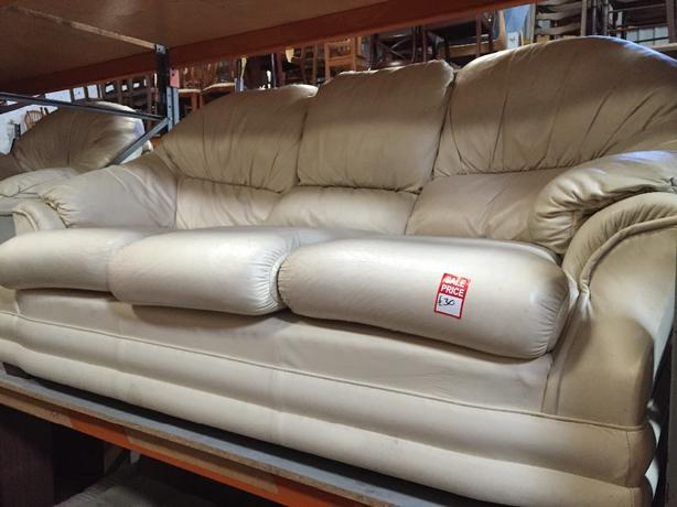 cream leather 3 seater and armchair