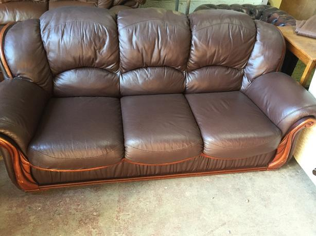 brown leather 3 seater and armchair