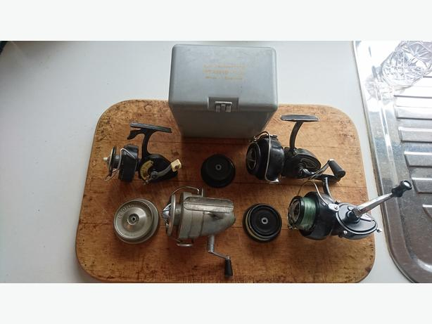 4 VINTAGE FISHING REELS 2 INTREPID ELITE 1 DELUXE LE OMNIA SPARE SPOOLS ORIG BOX