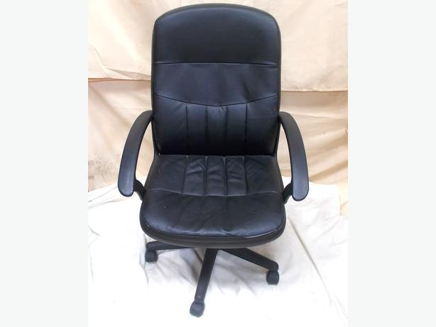 Black Faux Leather Chair: Black Faux Leather Office Chair With Wheels WALSALL, Walsall