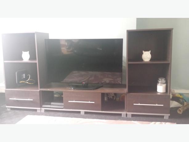 Brown Dark Wood Living Room Furniture Set Tv Stand Cabinet