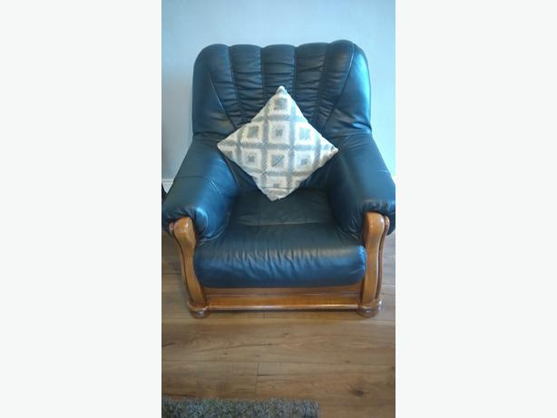 Three peice blue leather sofa for sale