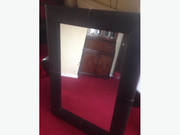 large faux brown leather mirror