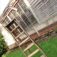 VERY OLD 7 STEP + PLATFORM TOP RUSTIC FOLDING LADDERS WEDDING DECOR HOME PROP