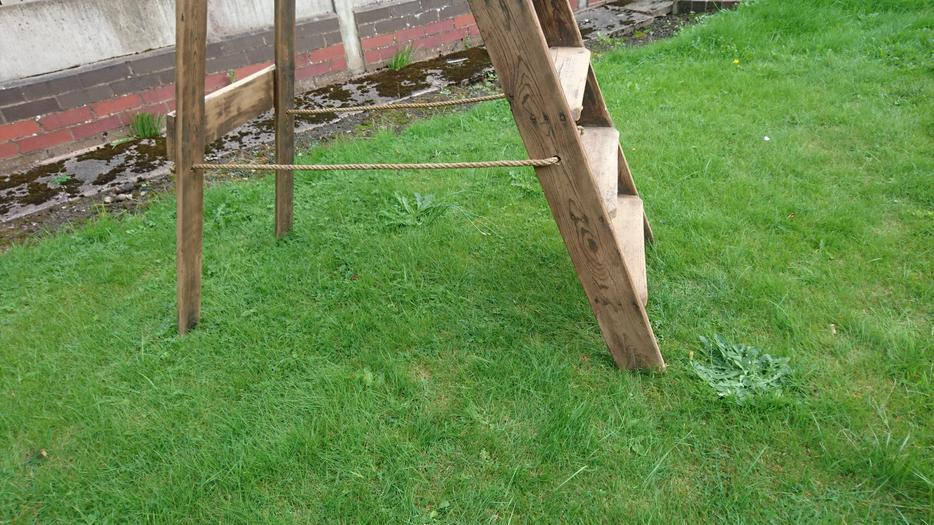 Very Old 7 Step Platform Top Rustic Folding Ladders