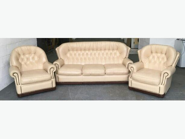 Cream Leather Chesterfield His& Her Sofa Set WE DELIVER UK Smethwick, Dudley