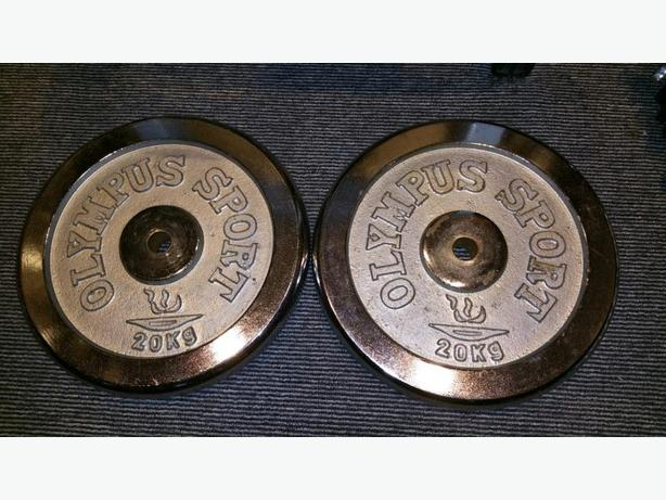 "Chrome Weights ""Olympus Sport"" 20KG Metal plates x2"