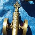 Old Solid brass cannon 1812  & fire place companion set