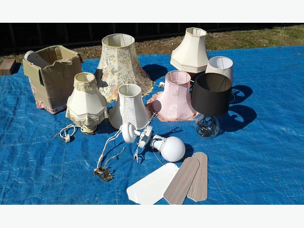 Collection of lights and table lamps and shades