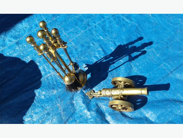 Old Solid brass cannon   & fire place companion set