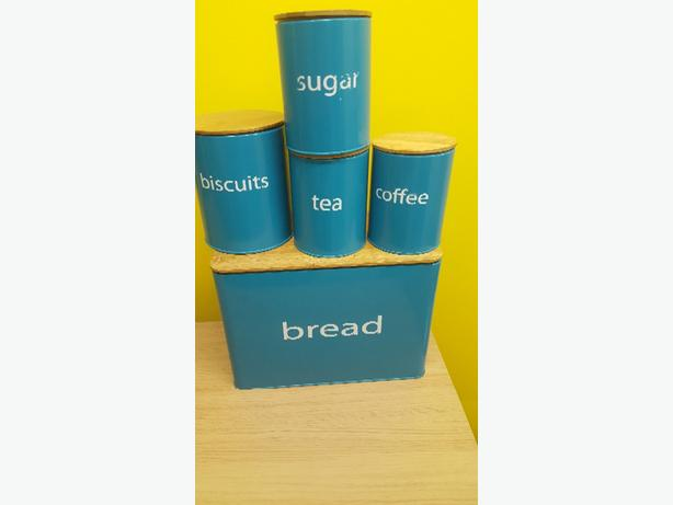 bread bin with tea coffee and sugar