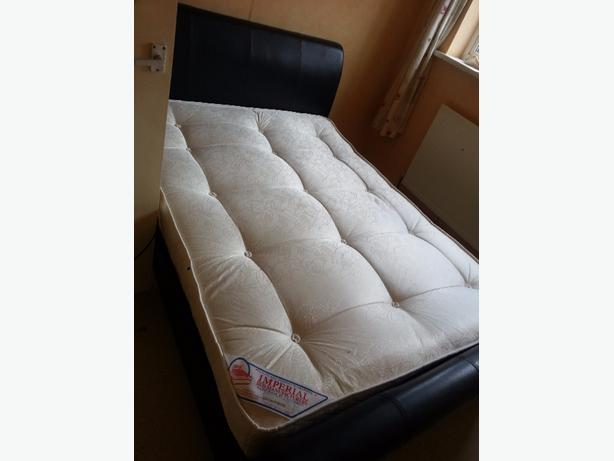 leather bed and also tables