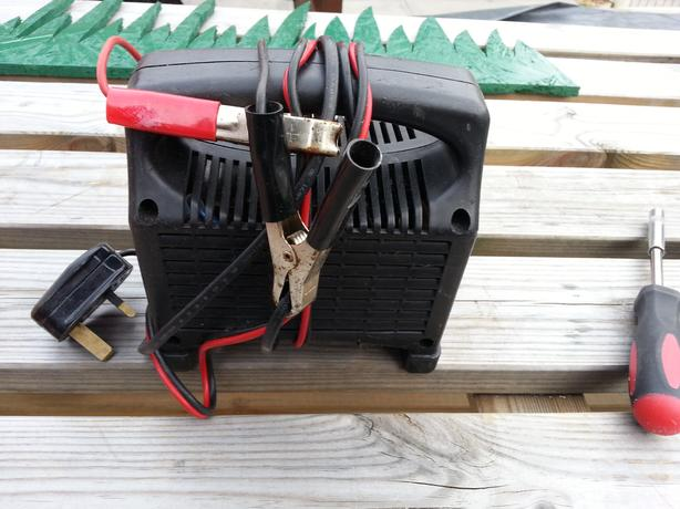 car battery power brick and jump wires