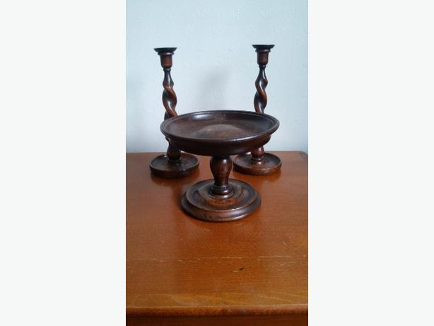 antique candle sticks and fruit bowl