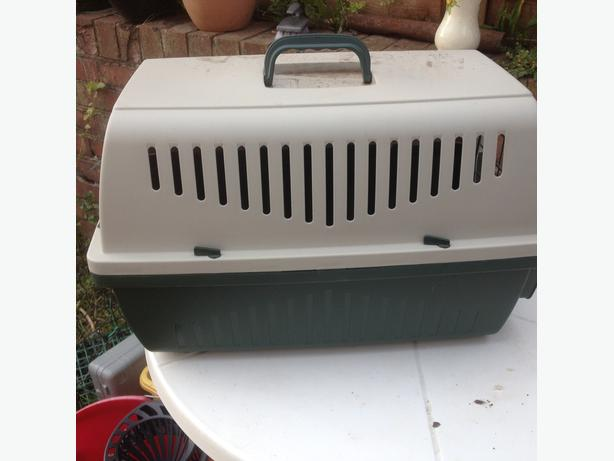 plastic pet carrier cat or small dog rabbit etc.