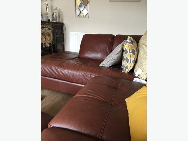 left hand leather corner settee & footstool
