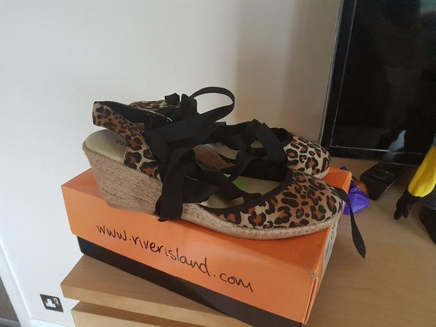 River Island Leopard print wedges