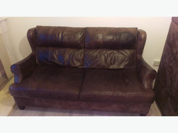 Three and two seater brown leather DFS sofas settee vintage