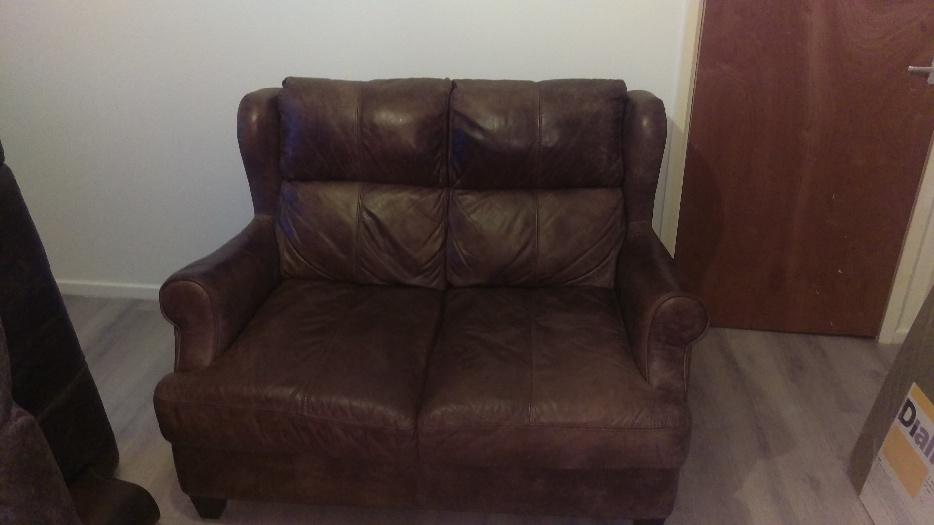 Three And Two Seater Brown Leather DFS Sofas Settee