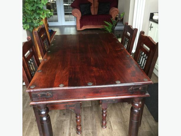 solid wooden indian table and chairs