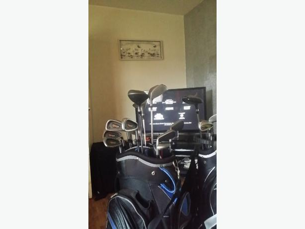 golf clubs and bags trousers and size 9 shoes