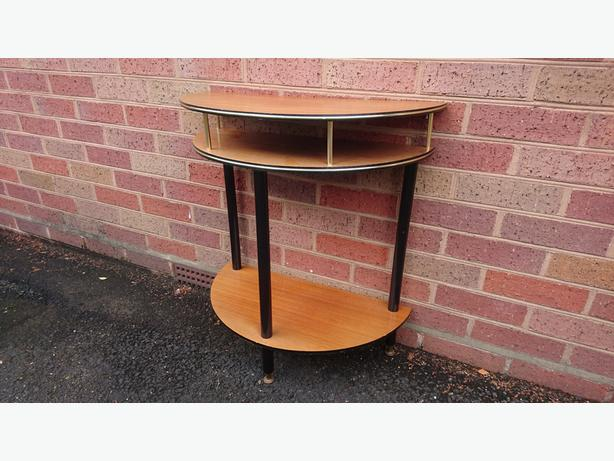 VINTAGE 1960S LIGHT WOOD DANSETTE LEGS SPACE SVER TELEPHONE TABLE + SHELVES VGC