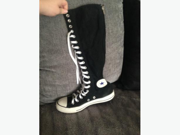 black knee high converse size 6