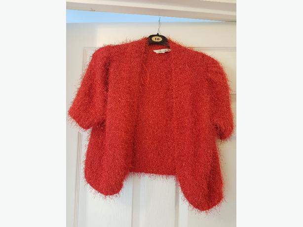 ladies red bolero Cardigan  size L