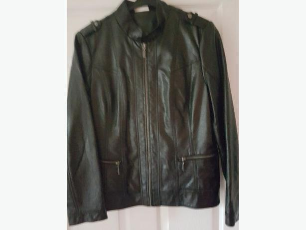 ladies black faux leather jacket size 16