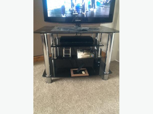 black glass tv stand unit