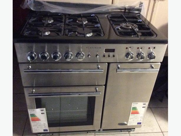 RangeMaster platinum 90 dual fuel range -stainless steel & chrome With Warranty