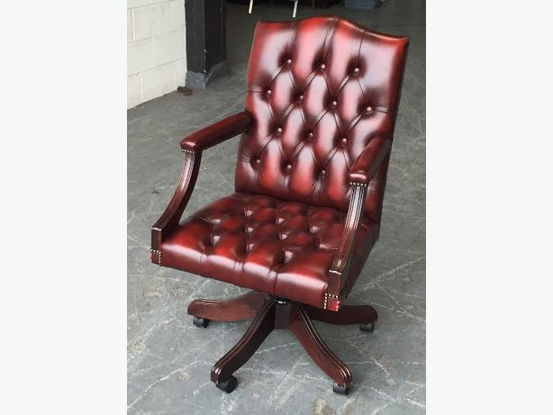 RARE STUNNING Chesterfield Oxblood Red Office Armchair.WE DELIVER. BE A BOSS