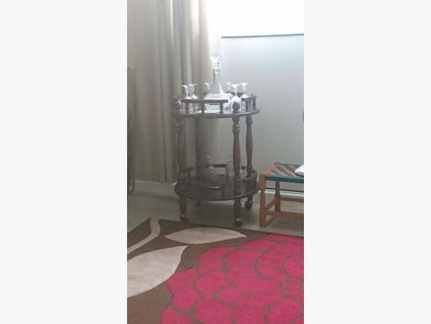drink trolley and decanter and glasses