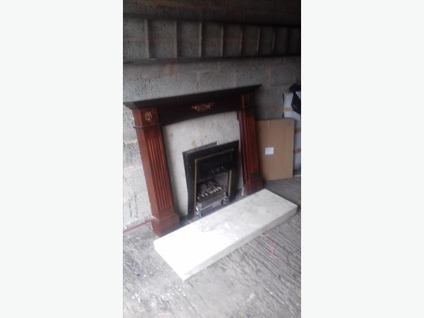 living flame gas fire with hearth and surround stourbridge. Black Bedroom Furniture Sets. Home Design Ideas