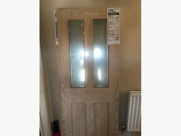 X 2 brand new 4 panel oak veneer interior glazed doors