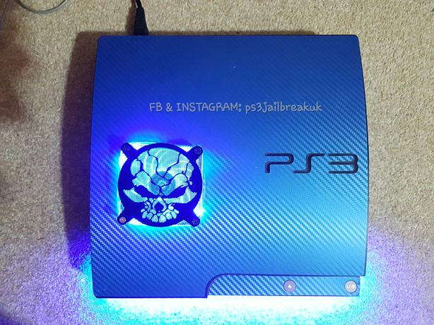 BLUE CARBON WEAVE MODDED JAILBROKEN PS3