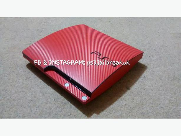 RED CARBON WEAVE JAILBROKEN PS3 FOR SALE.