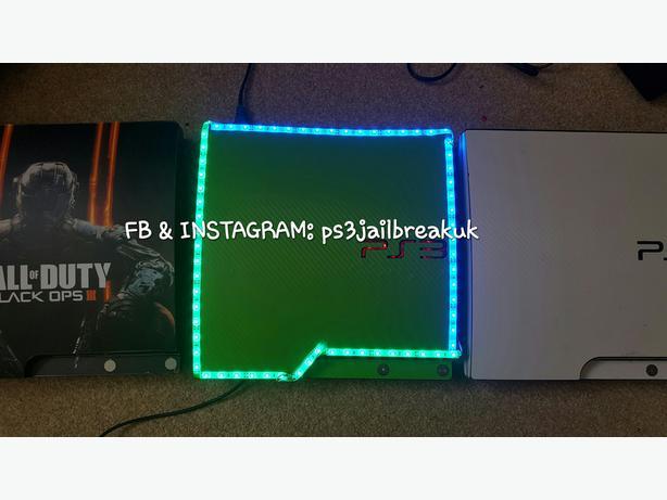 GREEN CARBON WEAVE LED JAILBROKEN PS3 FOR SALE (read description)