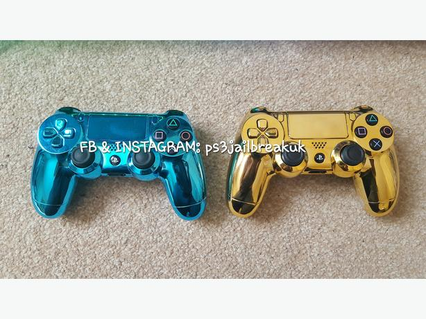 BLUE CHROME AND GOLD CHROME PS4 CONTROLLERS FOR SALE