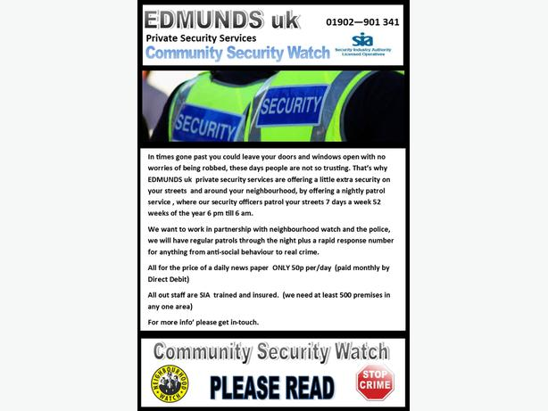 LOOKING TO WORK WITH NEIGHBOURHOOD WATCH LEADERS
