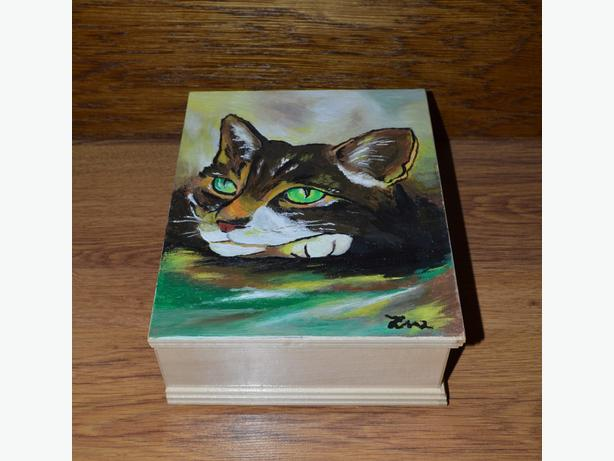 Unique Custom Wood Casket Memorial Urn for Cat's ashes Hand painted