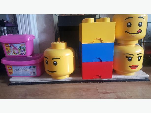 lego heads containers full of lego