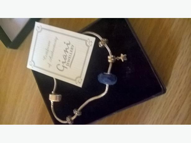 giani snake chain bracelet with 3 charms