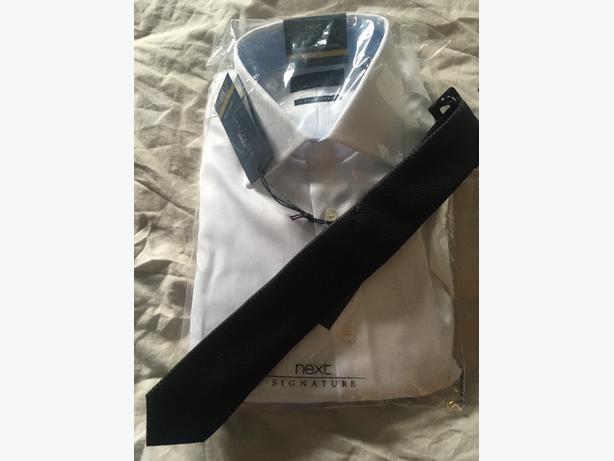 white slim fit shirt & black tie
