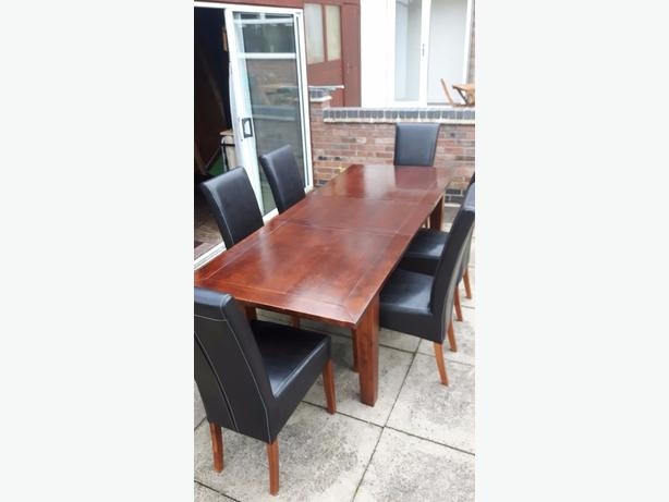 mahogany polished table & chairs mint